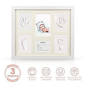 Baby Handprint Kit Hand & Footprint Makers DIY Picture Photo Frames Non Toxic Clay Memorable Keepsakes Decoration for Newborn Baby Shower Gift Room Wall Table Décor Boy Girl, Wooden Frame+White Inkpad