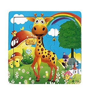Cartoon Wooden Puzzle, Waymine Cute Colorful and Diverse Wooden Blocks Puzzle Baby Kid Educational Training Toys Funny Gift for 1-3 Years Old Kids (Big Giraffe)