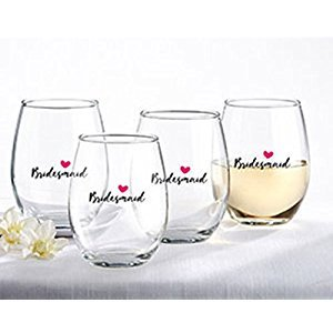 Kate Aspen Bridesmaids Pink Heart 15-Ounce Stemless Wine Glass (Set of 4)