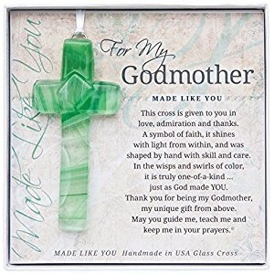 The Grandparent Gift Handmade Glass God Mother Cross Frame, Green, Beige