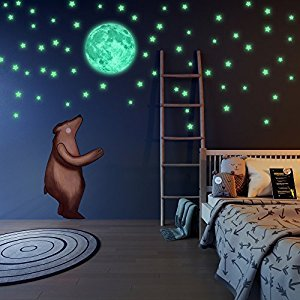 LIDERSTAR - Glow in the Dark Stars and Moon Wall Stickers With Free Affirmation Card – Luminous wall Decals for Ceiling ,Kids Bedroom Or Any Romantic Room ,College Wall Decor ,Perfect Gift for The One You Love.