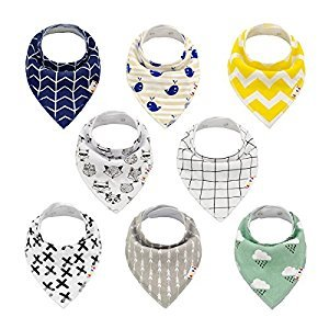 ALVABABY Bandana Drool Bibs Stylish Unisex for Boys and Girls 8 Pack of Super Absorbent Baby Gift Settings SKX01-CA