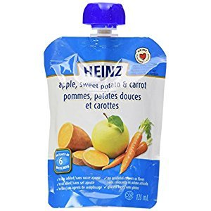 HEINZ Strained Apple, Sweet Potato & Carrot Pouch, 6 Pack, 128ML Each
