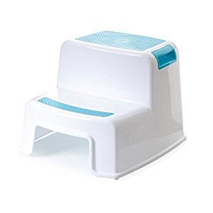 KICCOLY 2 Step Transitions Step Stool,2-Step Molded Plastic Stool with Non-Slip Step Treads, 200-Pound Capacity (Blue)