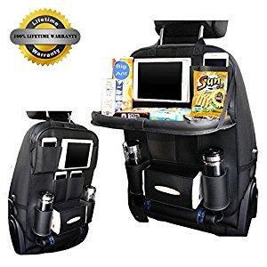 Car Seat Back Organizer, Big Ant Universal Car Travel Multi-Pocket Storage Bag, Car Kick Mat Tidy Protector, Black