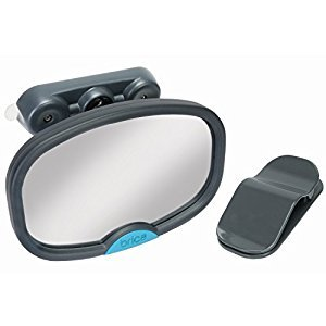 Munchkin BRICA Deluxe Stay-in-Place Mirror for in Car Safety, Grey