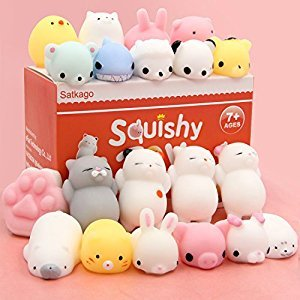 Mochi Squishy Toys, Satkago 20 Pcs Kawaii Mini Squishies Squeeze Toys Soft Stress Relief Toys for Boys Girls Children Adults Seal Octopus Rabbit Chicken Cat Pig Tiger Sheep Panda