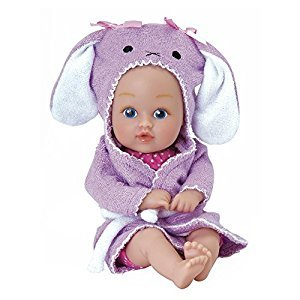 "Adora BathTime Baby Tot ""Bunny"" small 8.5 Inch washable BathTub Water Safe Soft Body Vinyl Fun Play Toy Doll for Boy or Girl Children and Toddlers 1 Year Old and up"