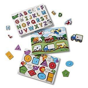 Melissa & Doug Wooden Peg Puzzles Set - Alphabet, Vehicles, and Shapes