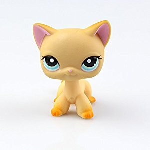 Littlest Pet Shop Collection LPS Toy Yellow Short Hair Kitten Cat Cute Animal Cat Collection Child Girl Boy Figure Toy for Baby Kids Gift 1pc