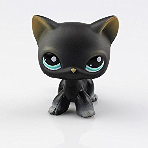 New Cute Littlest Pet Shop LPS Tan Brown Black Gray Short Hair Cat Dog Toy Rare for Kids Toy Gifts (Black Cat)