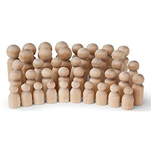 Natural Unfinished Wooden Peg Doll Bodies - Quality People Shapes - Great for Arts and Crafts - Birch and Maple Wood Turnings - Artist Set of 40 in 5 Different Shapes and Sizes