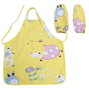 2-6 Years Old Kids Apron YELLOW Cartoon Canvas Apron for Cooking & Painting