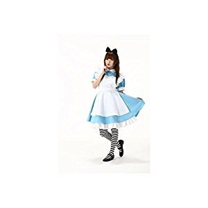 Alice cosplay maid apron ribbon Katyusha and high knee socks with blue costume dress fancy dress Halloween in Wonderland (japan import)