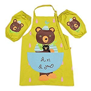 Kids Apron Bear Apron for Cooking Painting 3-6 Years Old, Green