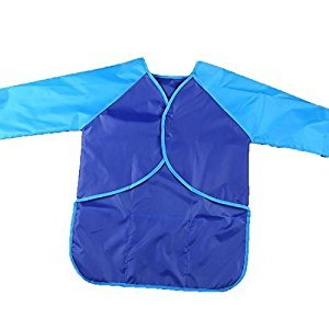 LissomPlume Unisex Kids Art Smock Waterproof Long Sleeve Artist Bib Aprons Children Painting Supplies with Roomy Pockets