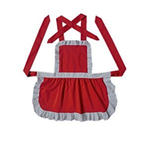 Red Apron for Girls Drawing/Cooking Apron