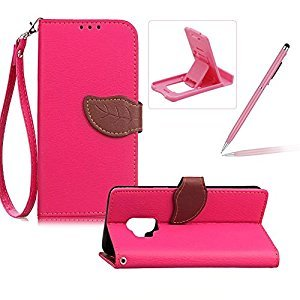 Strap Leather Case for Samsung Galaxy S9,Hot Pink Wallet Flip Cover for Samsung Galaxy S9,Herzzer Classic Unique Magnetic Leaf Buckles Design Full Body Card Slots Stand Folio Synthetic Leather Case with Soft Silicone