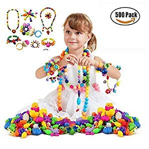 500Pcs Pop-Arty Beads Set Snap-Together DIY Bead Toys Handmade Jewelry Making Kit Necklaces/Bracelets/Rings Art Crafts Birthday/Christmas Gifts For Kids Girls Toddlers (Storage Box Included)