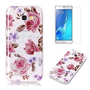 For Samsung Galaxy A5 2017 A520 Case with Pattern Pink Rose,OYIME Glitter Bling Design Ultra Thin Slim Fit Protective Back Cover Soft Silicone Rubber Shell Drop Protection Anti-Scratch Transparent Bumper and Screen Protector