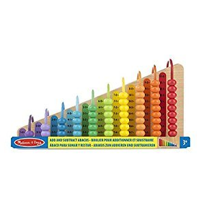 Melissa & Doug Add & Subtract Abacus - Educational Toy With 55 Coloful Beads and Sturdy Wooden Construction