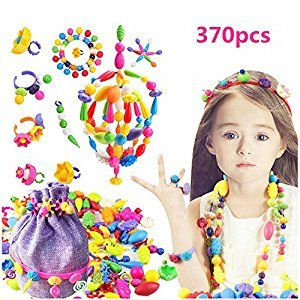 NEFUTRY Pop Beads Set, 370 PCS Pop Snap Beads for Girls Toddlers Kids DIY Jewelry Making- Necklace, Bracelet and Ring, Christmas Birthday Art Crafts Toys Gifts-Send a Purple Gift Bag