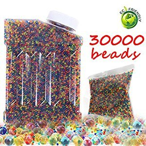 Water Beads Rainbow Mix Water Growing Balls Non Toxic for Children 30,000 Beads Orbeez Spa Refill, Sensory Toys and Décor (Mix Color))