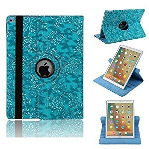 9.7'' 2018 iPad Case Cover,MeiLiio Premium Vintage Floral Pattern Flip Folio Stand PU Leather, Hard High Impact Slim Protective Flowers Bumper Cover Case for Apple 9.7 inch New iPad 2017 2018 (Blue)