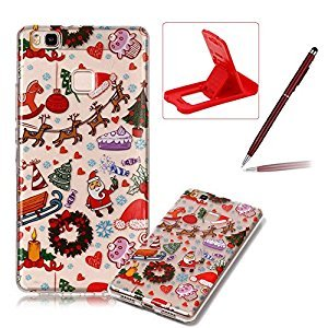 Clear Case for Huawei P9 Lite,Soft Gel Cover for Huawei P9 Lite,Herzzer Stylish Ultra Slim Christmas Series Christmas Paradise Printed Shockproof Flexible TPU Rubber Silicone Case