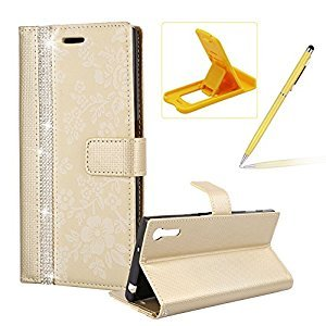 Diamond Leather Case for Sony Xperia XZ,Strap Wallet Case for Sony Xperia XZ,Herzzer Luxury Stylish Gold Flower Pattern Crystal Bookstyle Magnetic Stand Leather Case with Soft TPU