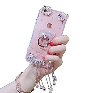 Diamond PC Case for Samsung Galaxy S7 Edge,Glitter Soft Bumper Clear Cover for Samsung Galaxy S7 Edge,Herzzer Stylish Luxury 3D Handmade Desgin Bling Sparkly Gems Rhinestone Tassel Hard Transparent Back Case with Cute Bear Ring Holder