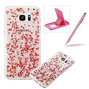 Glitter TPU Case for Samsung Galaxy S7 Edge,Soft Silicone Clear Cover for Samsung Galaxy S7 Edge,Herzzer Ultra Slim Stylish Rose Gold Love Hearts Design Bling Sparkles Scratch Resistant Shock Absorbing Flexible Rubber Case