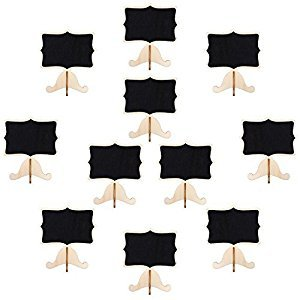 Pangda 20 Sets Mini Chalkboard Small Blackboard Card with Wooden Frame Easel for Wedding Party Event Decor