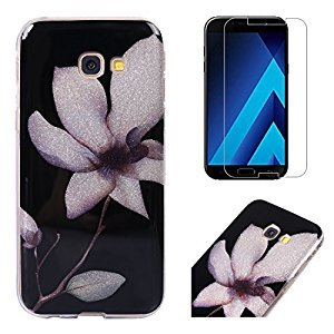 For Samsung Galaxy A5 2017 A520 Case with Screen Protector,OYIME Glitter Bling Design Ultra Thin Slim Fit Protective Back Cover Soft Silicone Rubber Shell Drop Protection Anti-Scratch Transparent Bumper and Screen Protector (White Lotus)