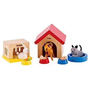Hape Family Pets Wooden Doll House Animals