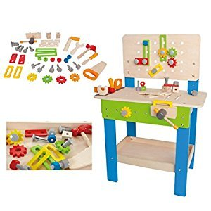 Hape Master Workbench Kid's Wooden Toolbench Pretend Builder Set