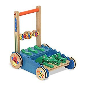 Melissa & Doug Deluxe Chomp and Clack Alligator Wooden Push Toy and Activity Walker