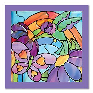Melissa & Doug Stained Glass See-Through Window Art Kit: Rainbow Garden - 80+ Stickers, Frame