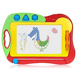 Magnetic Drawing Board, Zooawa Kids Doodle Sketch Arts Craft Erasable Colorful Toy Drawing Tablets with Screen Pad and Stampers Gifts for Children(Boys and Girls), Colorful