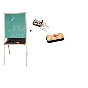 Beka Double-Sided Preschool Easel & Melissa and Doug White Chalk, Felt Chalk Eraser
