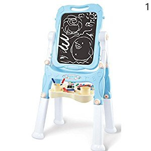 Gracefulvara Big Size Standing Easel With Magnetic Letters Double Sided Art Board For Kids (Blue)
