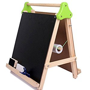Gracefulvara Double Sided Adjustable Kids Easel Drawing Board With Paper Roll and Accessories