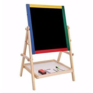 Great Gift For Kids ! Adjustable Black & White Wooden Easel Chalk Drawing Board \ Easels Toddlers Small Colouring Game Educational Child Portable Development Top Furniture Standing School Little Play Chalkboard