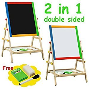 Kids Drawing Board Adjustable Height Chalk Board Fun Standing Easel Erase 2 In 1 + eBook