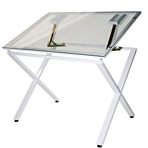 Martin U-DS1500W X-Factor Drawing and Hobby Table with Large 30 by 42-Inch Glass Top