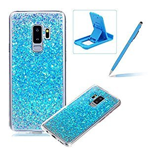 Rubber TPU Case for Samsung Galaxy S9 Plus,Herzzer Ultra Thin Slim Lightweight Color Changing Glittering Luxury Unique [Blue Sequins] Bling Bling Shiny Sparkle Soft Silicone Gel Clear Bumper Frame Cover for Samsung Galaxy S9 Plus + 1 x Free Blue Cellphone