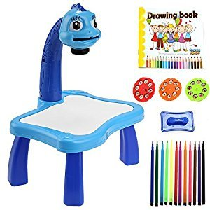 Smibie Projector Music Drawing Painting Board with Light 24 Patterns & 12 Colorful Water Pens (Blue)