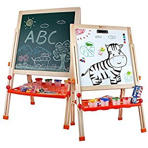 Standing Art Easel Wooden Multifunctional Drawing Board Chalk Board, Dry Erase Board with Tray, Paper Roll and Accessories for Children Kids
