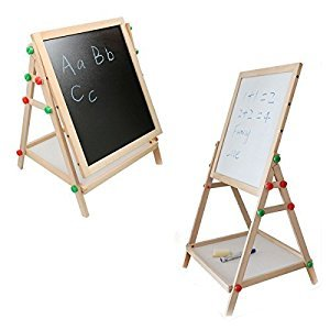 Standing Easel, All-in-One Wooden Adjustable tabletop Art easels with Magnetic Dry-Erase Board and Chalkboard for Kids Play Time