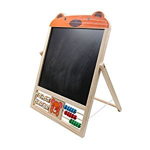 Yuhebaby Standing Art Easel for Kids, Wooden Tabletop Easel for Painting, Foldbale Double Sided Whiteboard & Chalkboard with Dry Erase Markers, Magnetic Shapes, Numbers(Bear)